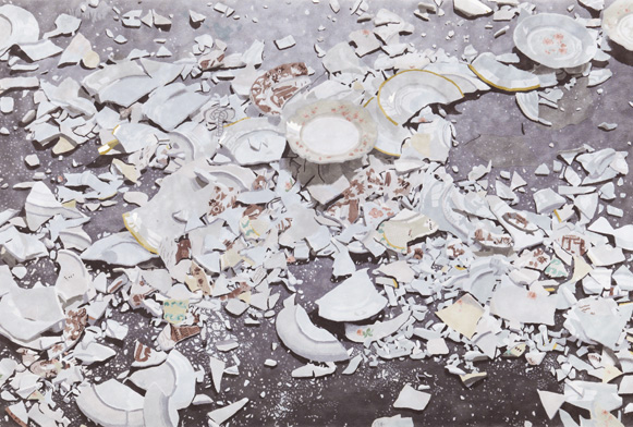 Walking over broken plates