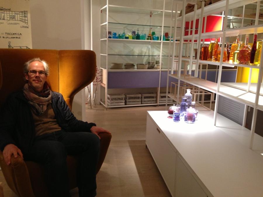 Michael enjoying the atmosphere at his favorite kitchen studio Valcucine in zona Brera